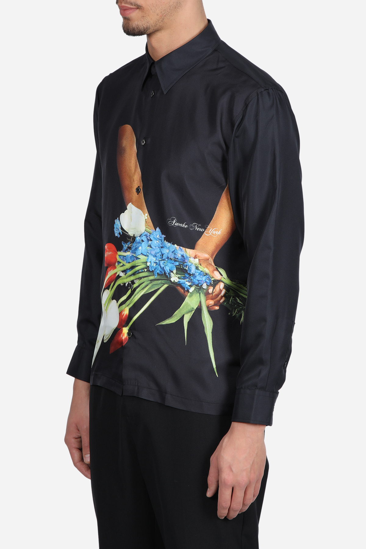 FLOWERS SILK SHIRT AWAKE NY | 6 | TP001FLOWERS SILK SHIRTBLACK