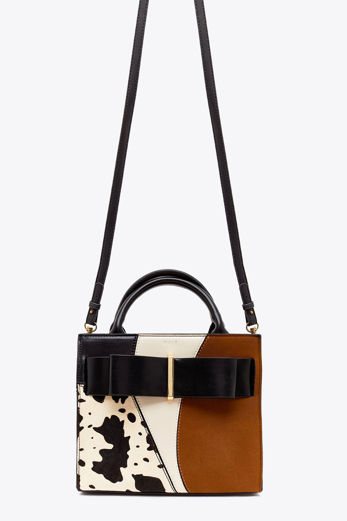 PATCHWORK HANDBAG WITH BOW NALI | 31 | CFBS0029IVORY/BROWN