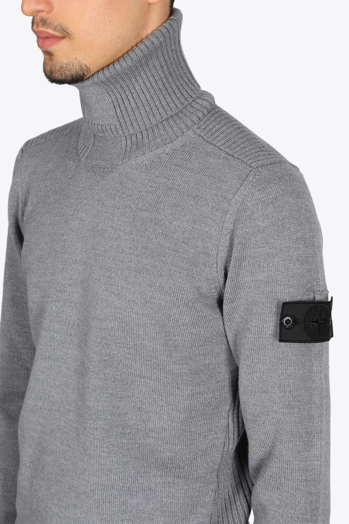 RIBBED TURTLE NECK STONE ISLAND SHADOW PROJECT | -1384759495 | 7319510A5 V0060GREY