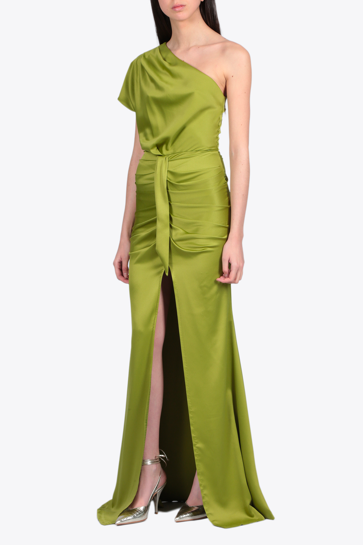 ONE SHOULDER LONG DRESS ACTUALEE | 11 | 4106 AB 3675GREEN