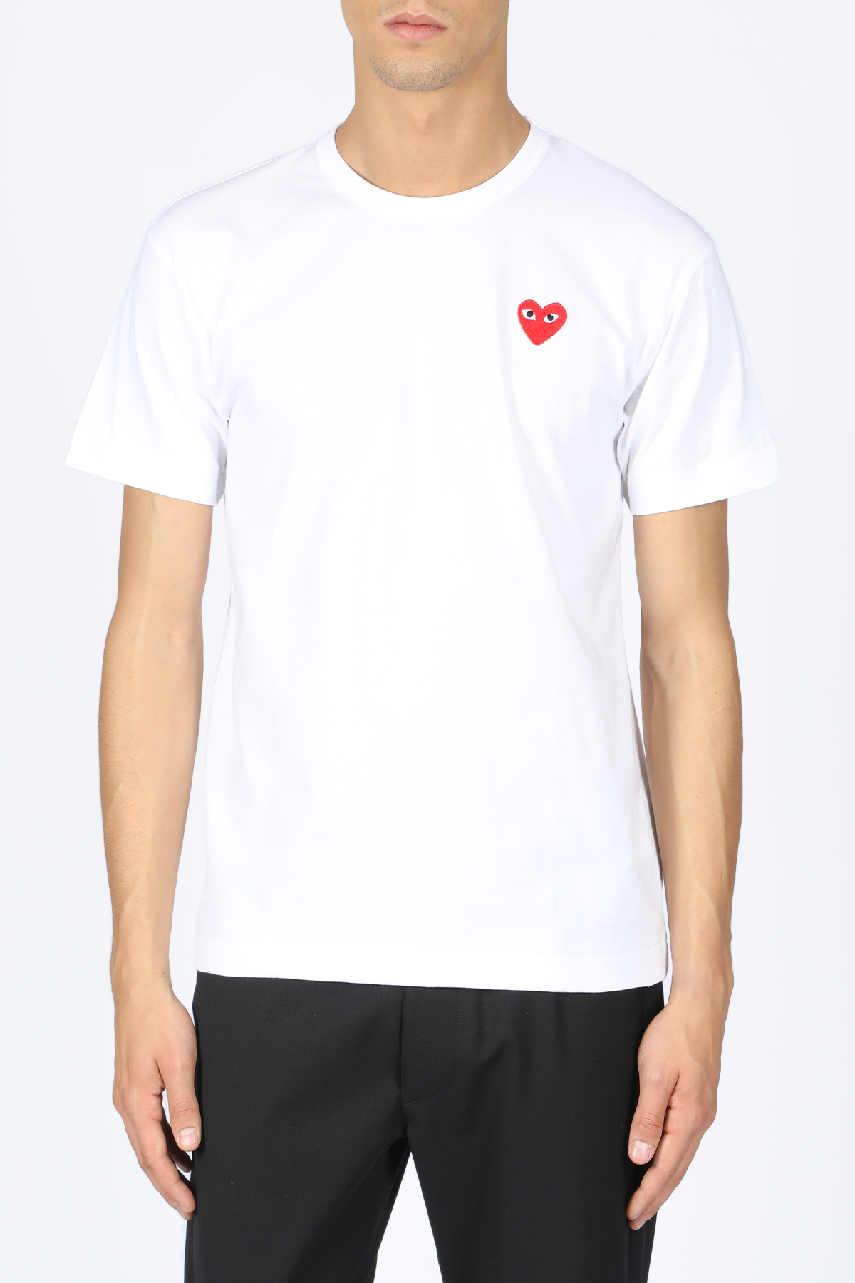 t-shirt patch cuore rosso COMME DES GARCONS PLAY | 8 | P1T108WHITE