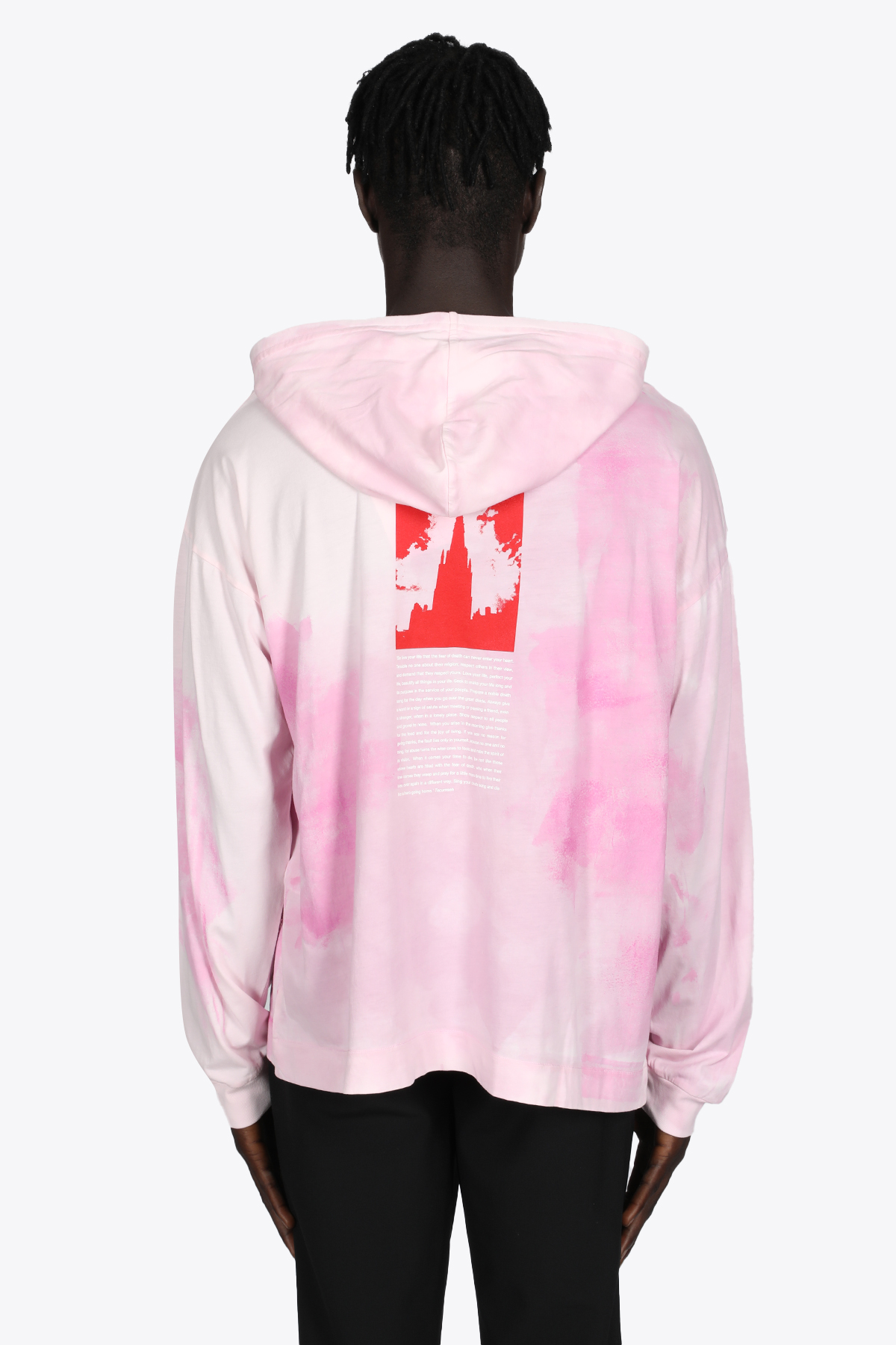 PINK TIE-DYE COTTON HOODED T-SHIRT WITH LONG SLEEVES 1017 ALYX 9SM   8   AAMTS0239FA01 TREATED HOODED T-SHIRT06