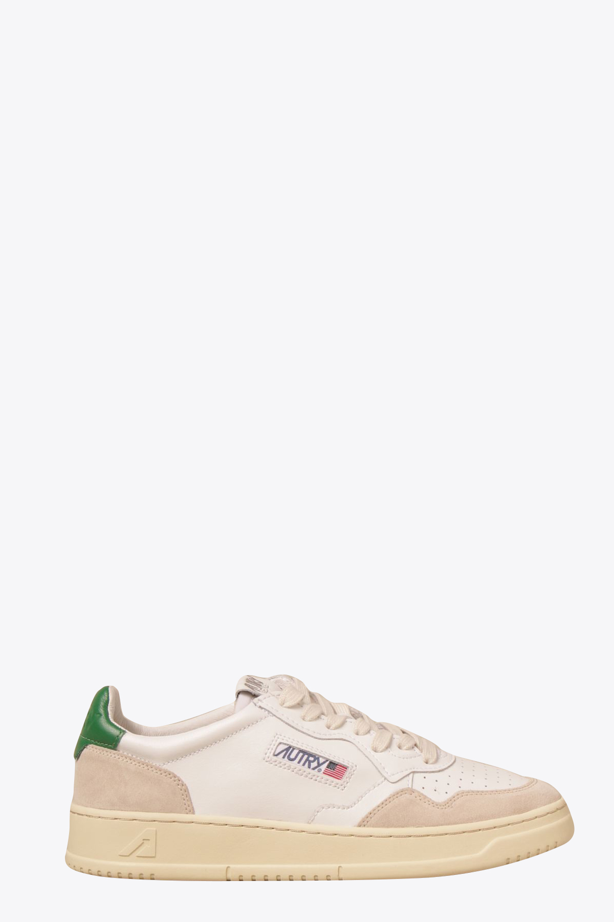 White and green  leather low-top lace up sneakers AUTRY   10000039   LS23WHITE/AMAZON