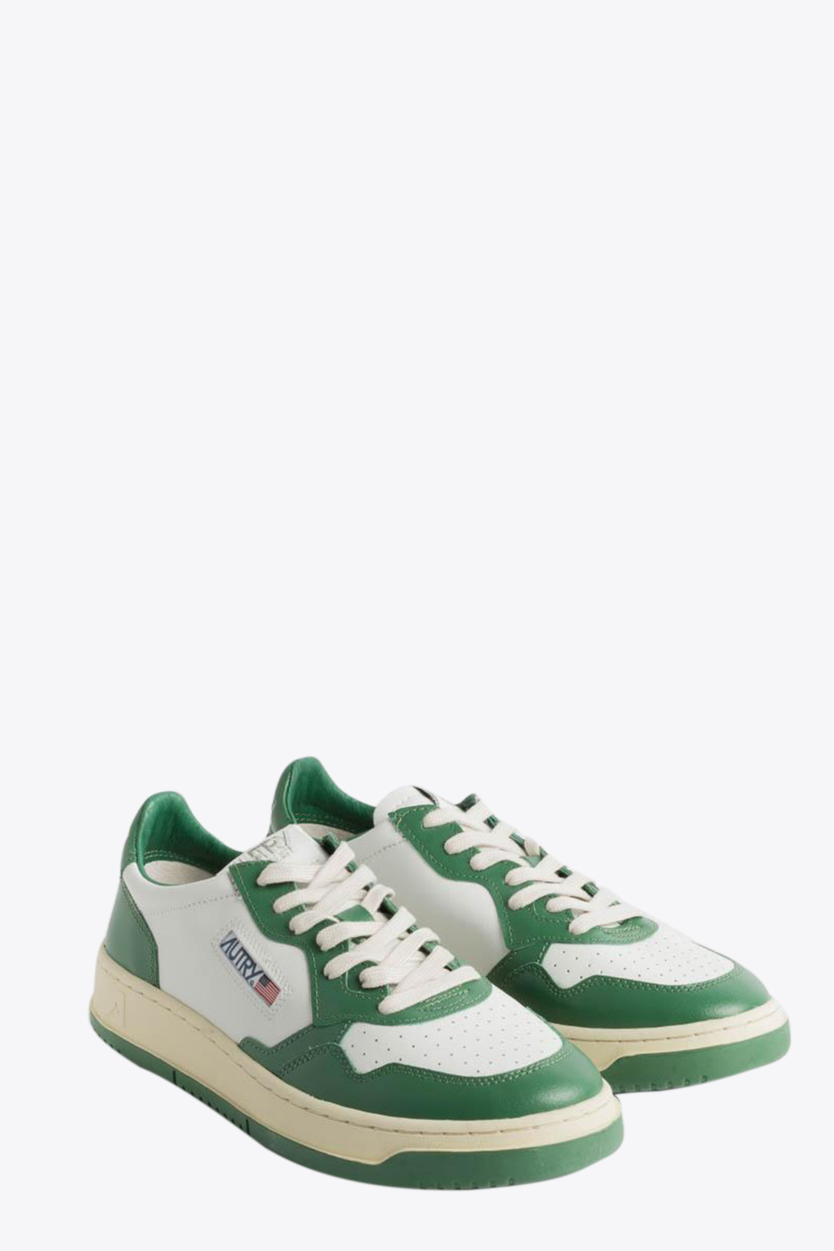 WHITE/GREEN LEATHER LOW-TOP LACE UP SNEAKER AUTRY | 10000039 | WB03WHITE/GREEN