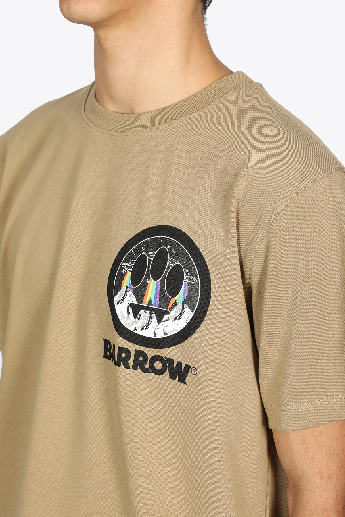T-SHIRT IN COTONE BEIGE CON SMILE BARROW   8   029922 JERSEY T-SHIRT094