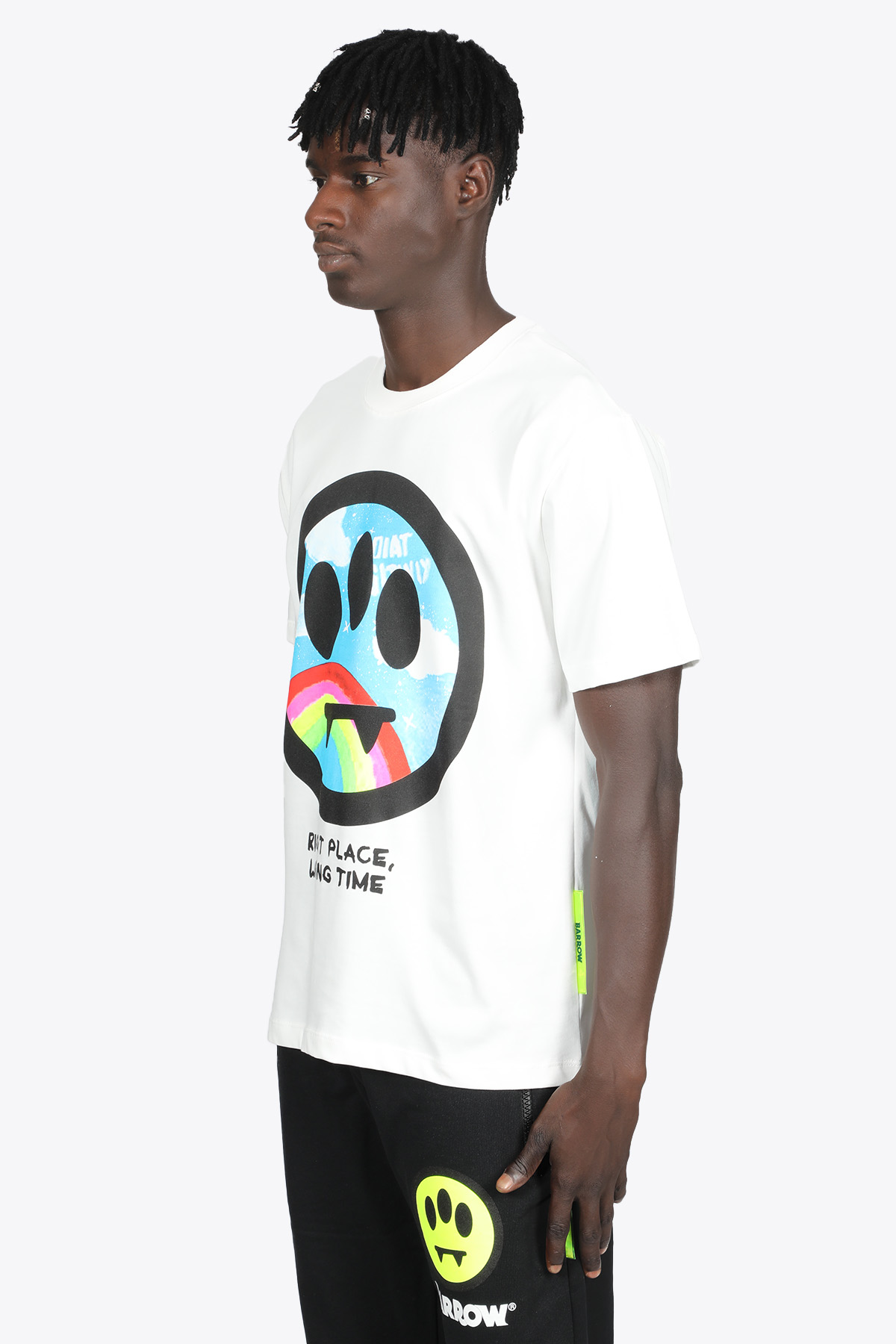 WHITE COTTON T-SHIRT WITH RAINBOW SMILE FRONT PRINT BARROW | 8 | 029927 JERSEY T-SHIRT002
