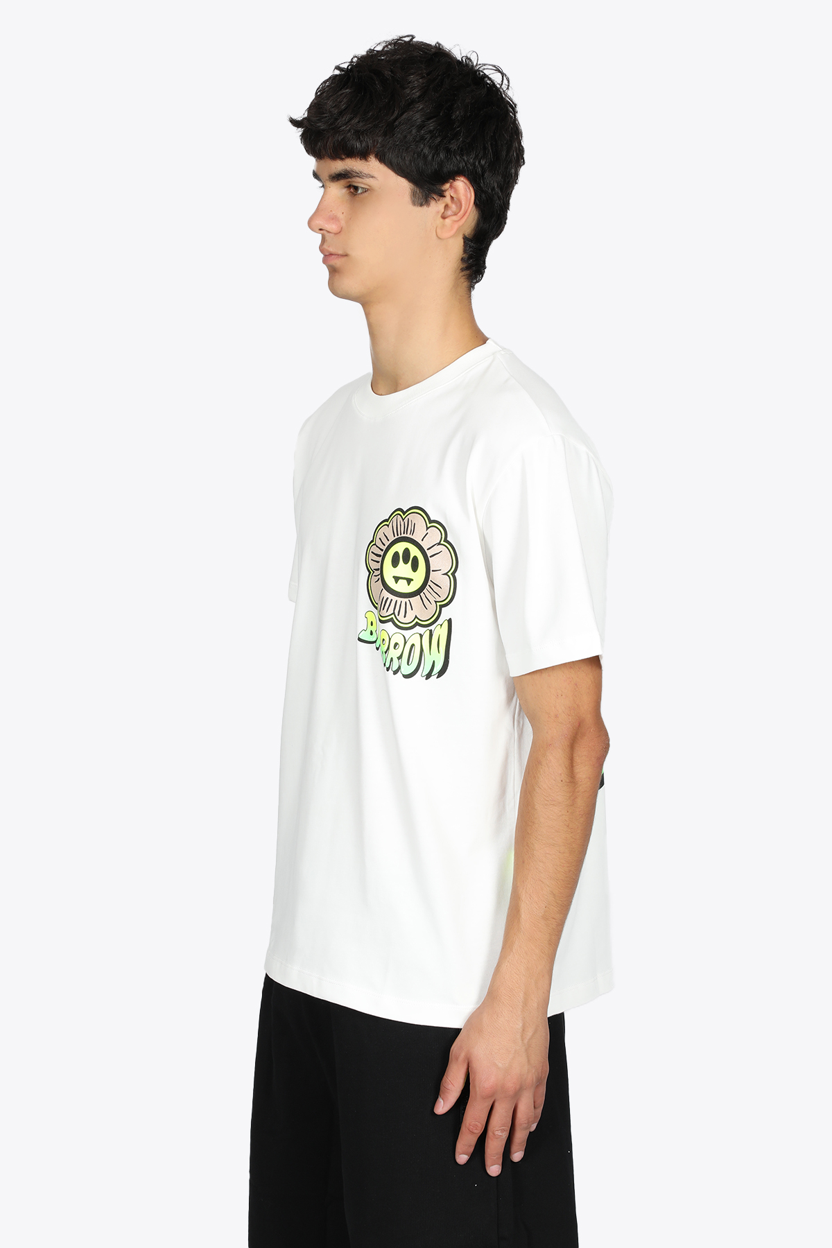 OFF-WHITE COTTON TEE WITH FLOWER PRINT BARROW   8   029934 JERSEY T-SHIRT002