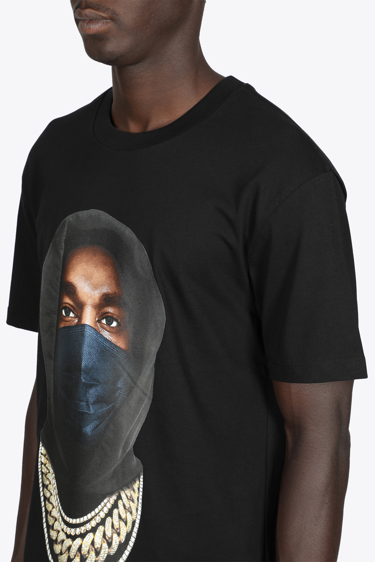 T-SHIRT NERA IN COTONE CON STAMPA MASK IH NOM UH NIT   8   NUW21251 T-SHIRT MASK ON 21009