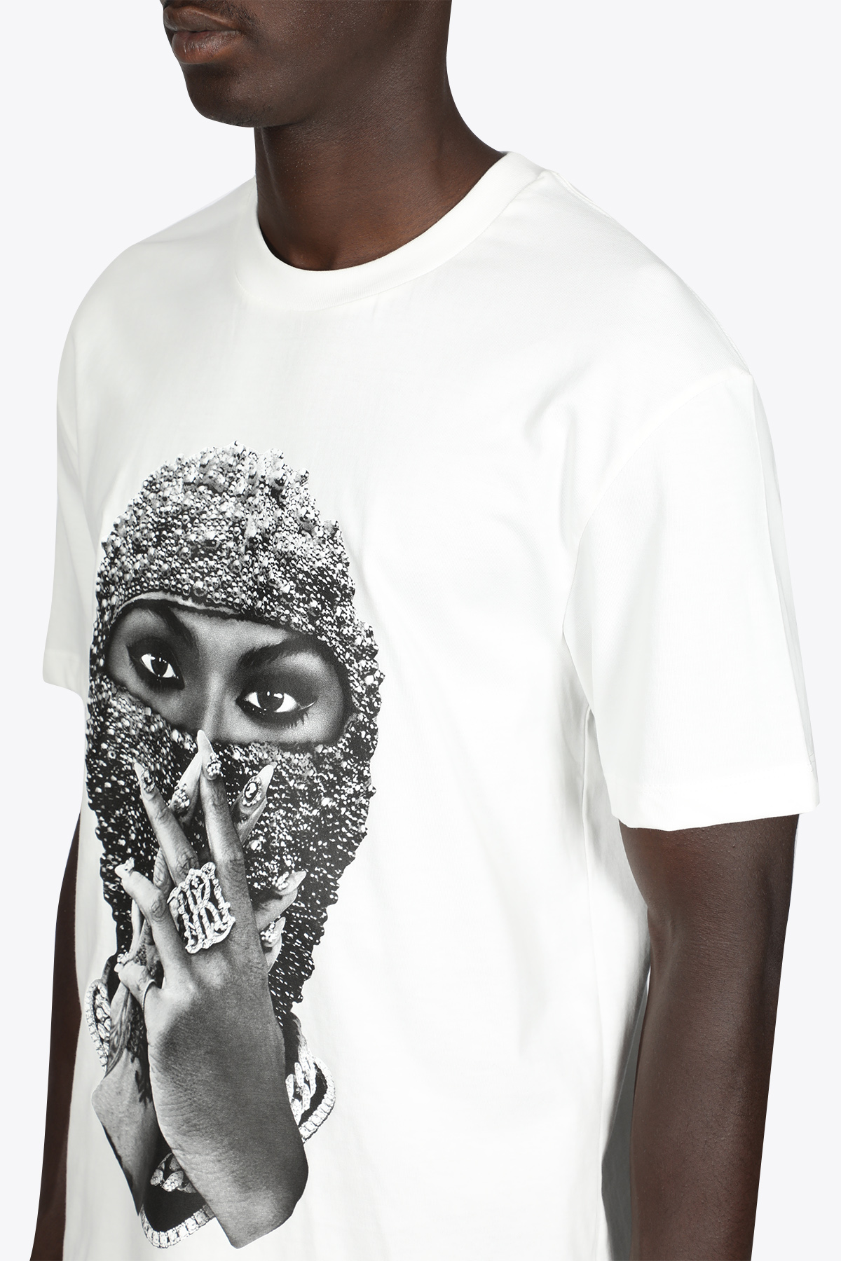 T-SHIRT BIANCA IN COTONE CON STAMPA DONNA IN MASCHRA DI PERLE IH NOM UH NIT | 8 | NUW21254 T-SHIRT BLACK PEARL WOMAN MASK081