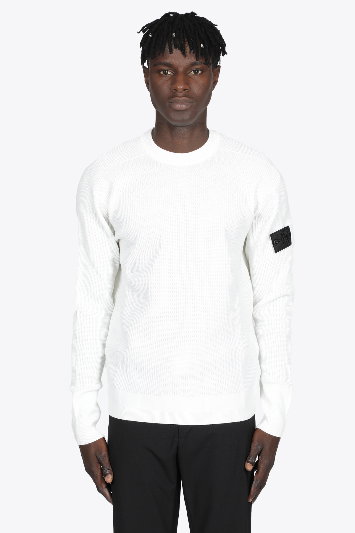 PULLOVER IN LANA A COSTE BIANCO STONE ISLAND SHADOW PROJECT | -1384759495 | 7519505A1 CRWNECK KNITV1001