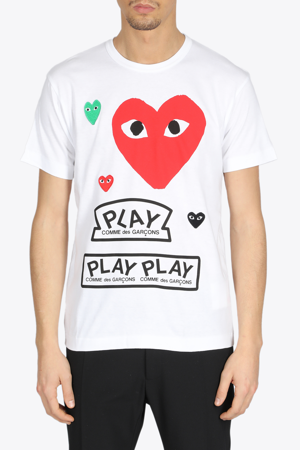MULTI LOGO TEE COMME DES GARCONS PLAY | 8 | P1T280WHITE