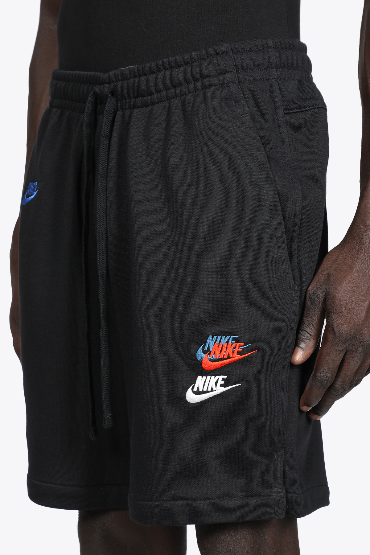 BLACK COTTON SHORTS WITH MULTICOLOR LOGO EMRBOIDERIES NIKE   30   DD4682010