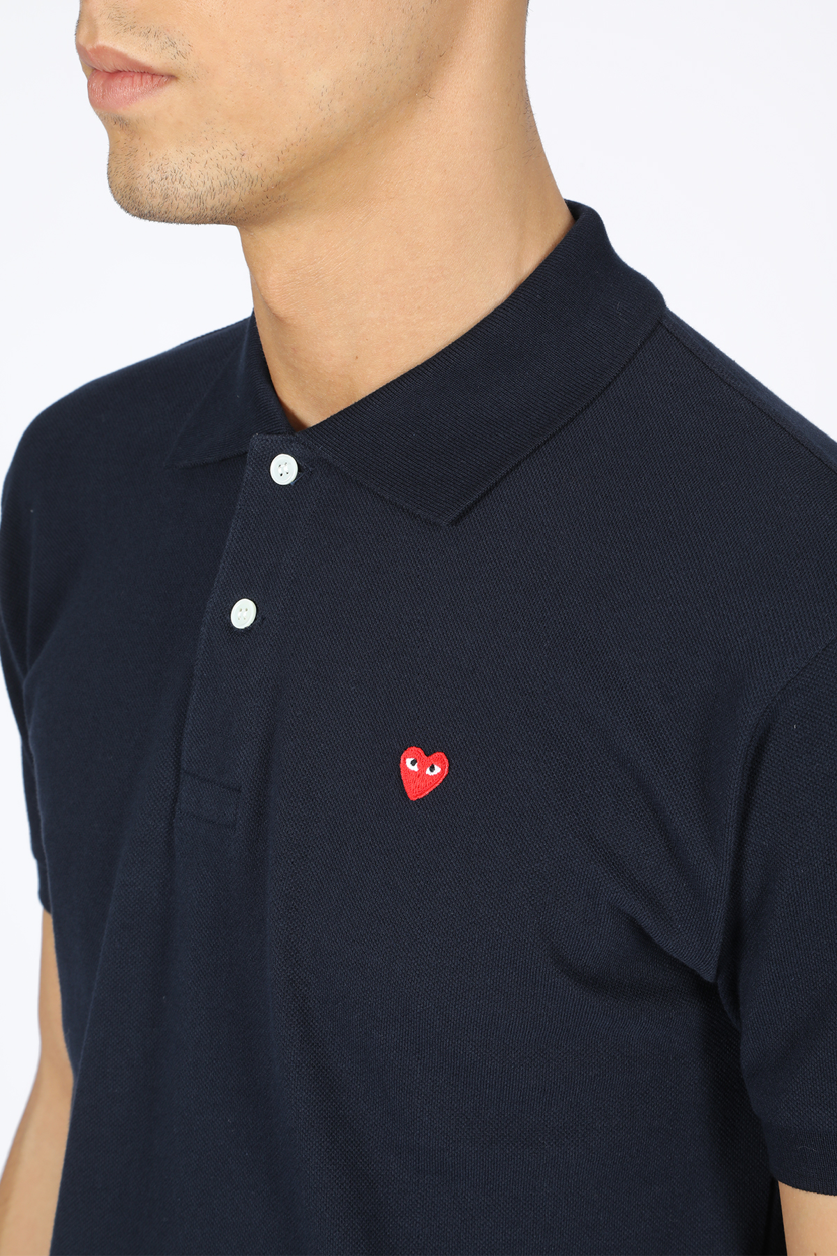 POLO SHIRT RED HEART PATCH COMME DES GARCONS PLAY | 2 | P1T204 PLAY POLO SHIRTNAVY