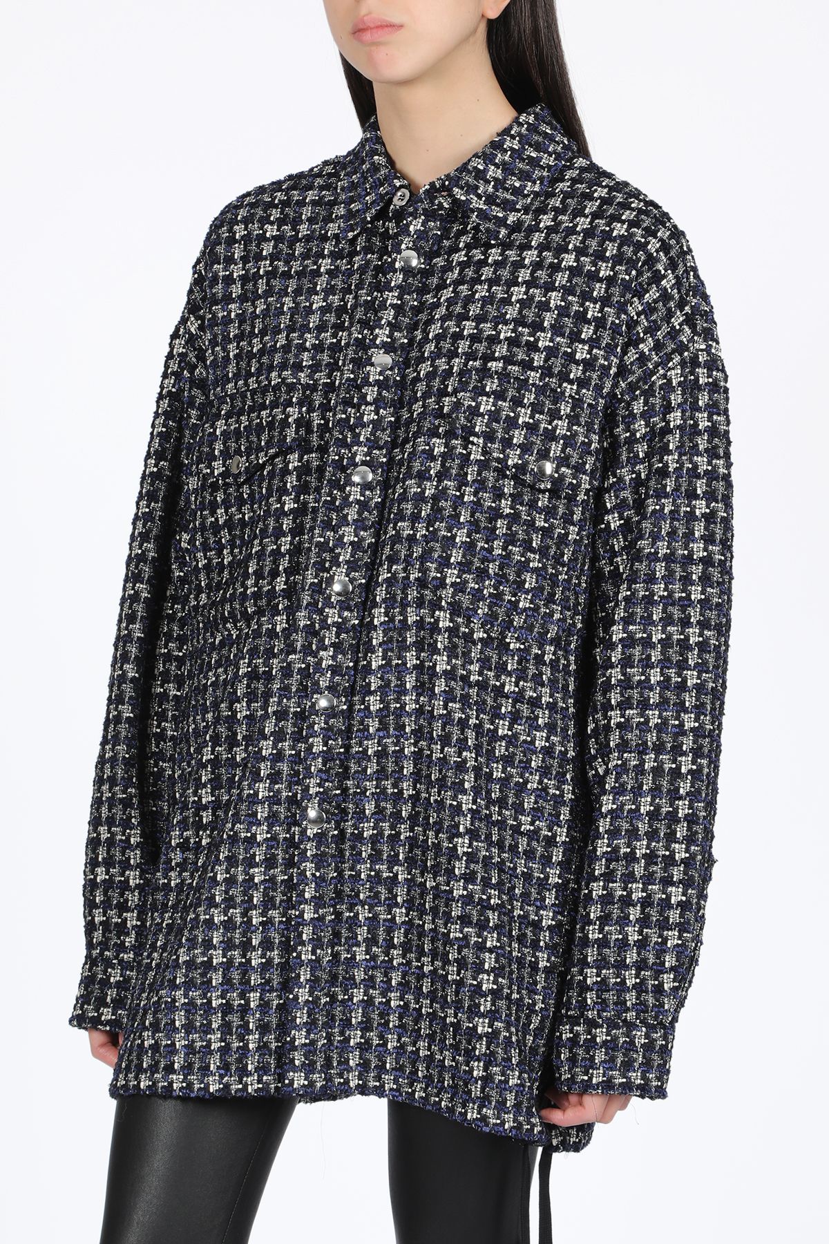 laced tweed overshirt FAITH CONNEXION   6   X1803T00434 LACED TWD OV SHBLACK/WHITE