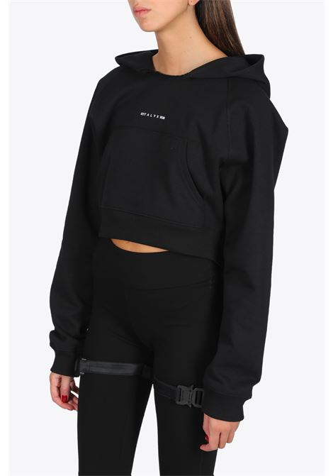 WOMENS HOODED SWEATSHIRT VISUAL 1017 ALYX 9SM | -108764232 | AVWSW0009FA01 WOMENS HOODED SWEATSHIRT VBLACK
