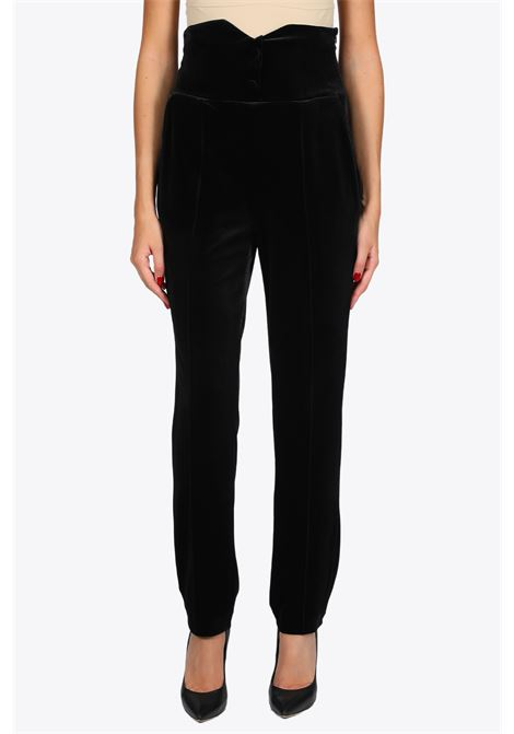 HIGH WAISTED VELVET PANTS ACTUALEE | 9 | 5147 PA2730BLACK