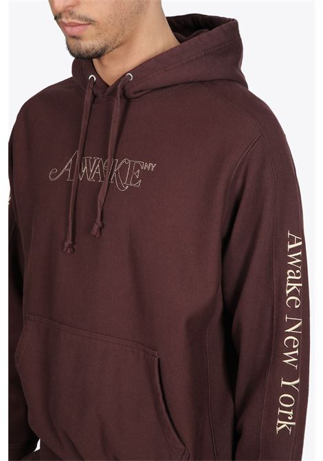 CLASSIC OUTLINE LOGO PANELED EMBROIDERED HOODIE AWAKE NY | -108764232 | HD001 CLASSIC OUTLINE LOGO PANELED EMBROBROWN