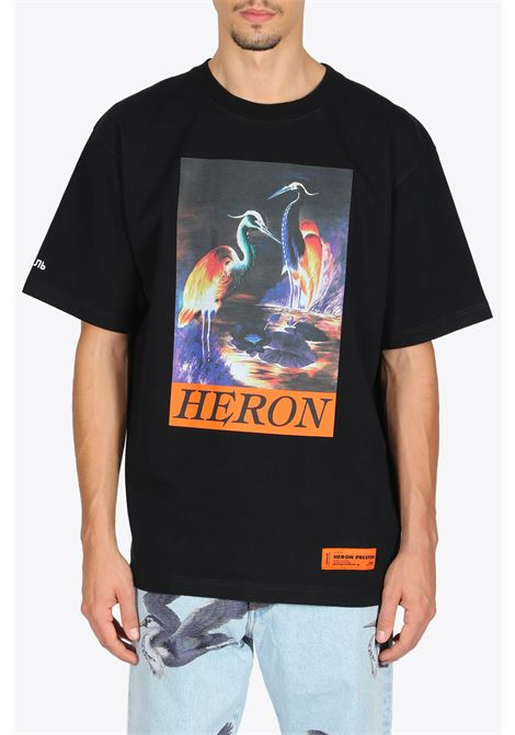 SS T-SHIRT HERONS  HERON PRESTON | 8 | HMAA020F20JER0021020 SS T-SHIRTBLACK/ORANGE