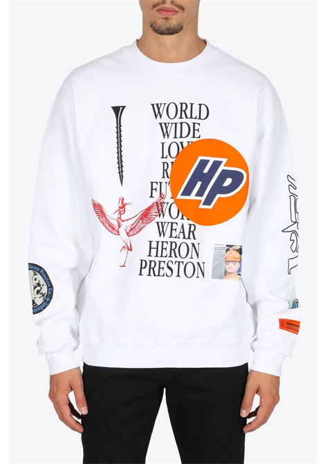 crewneck os collage HERON PRESTON | 8 | HMBA014F20JER0020110 CREWNECK OS COLLAGEWHITE/BLACK