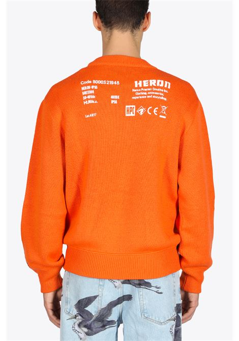 STAMP KNIT CREWNECK HERON PRESTON | -1384759495 | HMHE006F20KNI0022201 STAMP KNITORANGE/WHITE