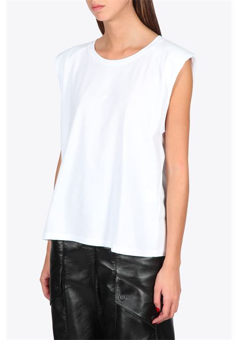 SLEEVELESS TEE WITH SHOULDER PADS LANEUS | 8 | 90707WHITE