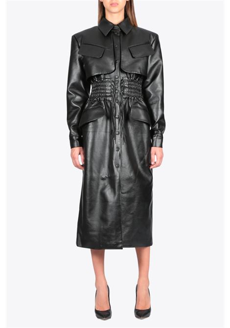 faux leather cargo coat MATERIEL | 17 | 1002 FAUX LEATHER CARGO COATBLACK