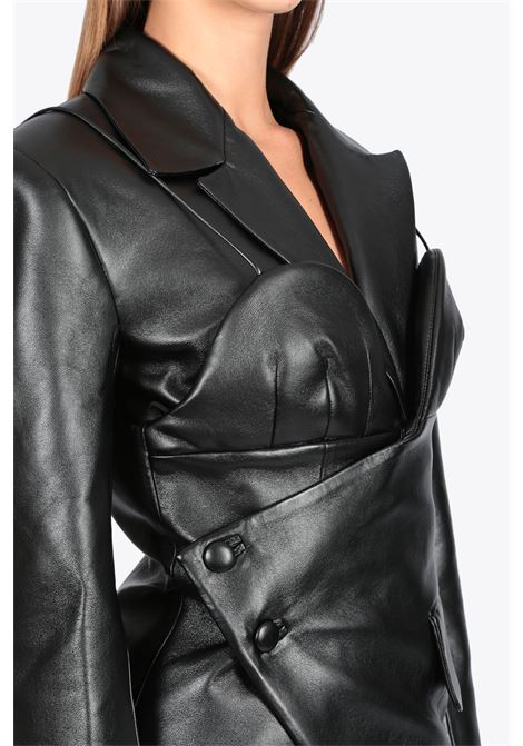 FAUX LEATHER BLAZER W CORSET MATERIEL | 3 | 1007 FAUX LEATHER BLAZER W CORSETBLACK