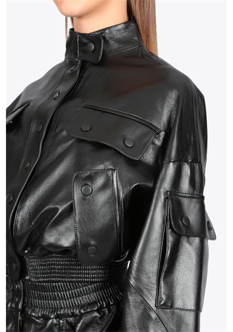 faux leather cargo jacket MATERIEL | 3 | 17388 FAUX LEATHER CARGO JACKERTBLACK