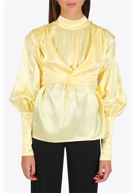 SATIN BLOUSE W DRAP AROUND BRA MATERIEL | 6 | 912 SATIN BLOUSE W DRAP AROUND BRABLACK