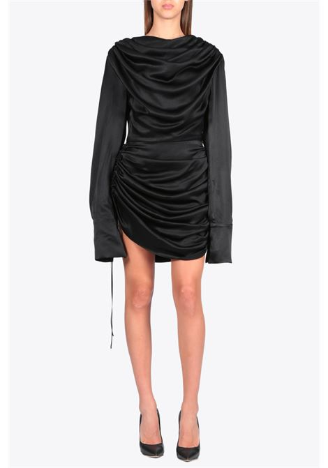 satin draped mini dress MATERIEL | 11 | 984 SATIN DRAPED MINI DRESSBLACK