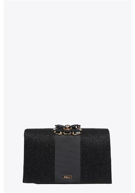 RIBBED LUREX CLUTCH WITH STONES NALI | 30000046 | WIPC0044BLACK