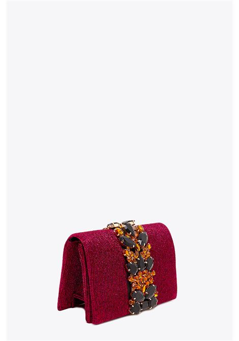 RIBBED LUREX CLUTCH WITH STONES NALI | 30000046 | WIPC0045FUXIA