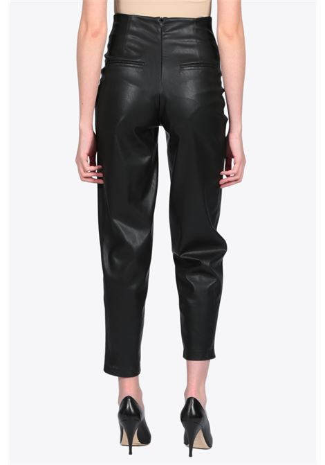 Eco-leather pant with gathering ACTUALEE | 9 | 4148 PA2698BLACK