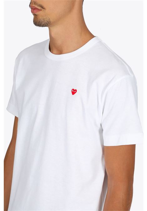 t-shirt patch cuore rosso COMME DES GARCONS PLAY | 8 | P1T200WHITE