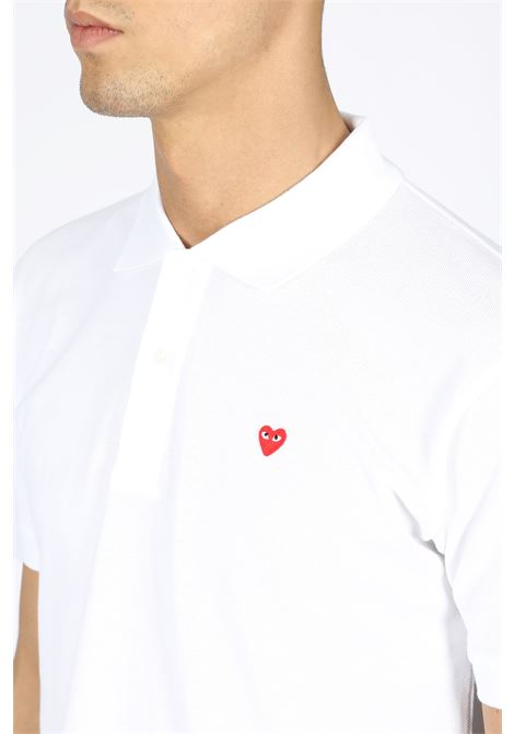 play polo shirt red heart COMME DES GARCONS PLAY | 8 | P1T204WHITE