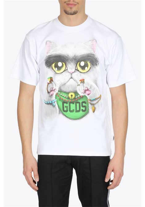 HUGE CAT TEE GCDS | 8 | SS20M020076 HUGE CAT TEEWHITE