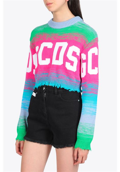 CROP MULTICOLOR LOGO SWEATER GCDS | -1384759495 | SS20W020052 CROP MULTICOLOR LOGO SWEATERFUXIA
