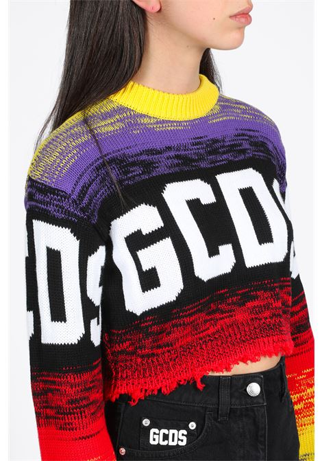 CROP MULTICOLOR LOGO SWEATER GCDS | -1384759495 | SS20W020052 CROP MULTICOLOR LOGO SWEATERVIOLET