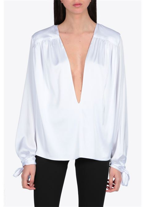 V-NECK SATIN BLOUSE NEVERBETHESAME | 6 | 246WHITE