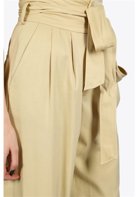 HIGH WAIST PANT WITH SASH NEVERBETHESAME | 9 | 3535SAND