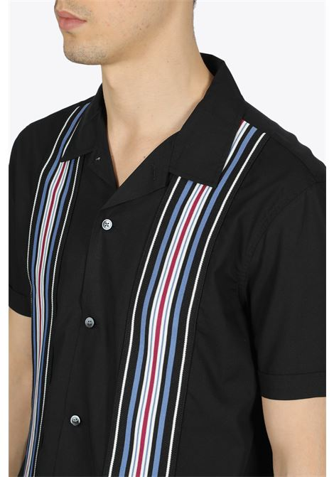 striped knit panel shirt STUSSY | 6 | 1110093 STRIPED KNIT PANEL SHIRTBLACK