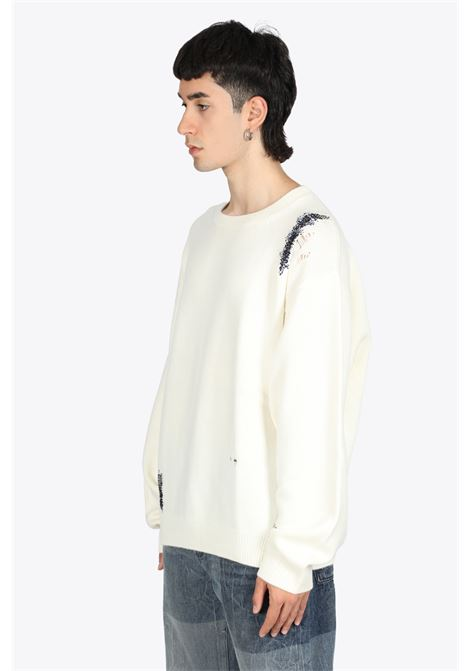 Off-white wool hand repaired pullover 032C | -1384759495 | FW21-K-1042 HAND REPAIRED PULLOVERNATURAL WHITE