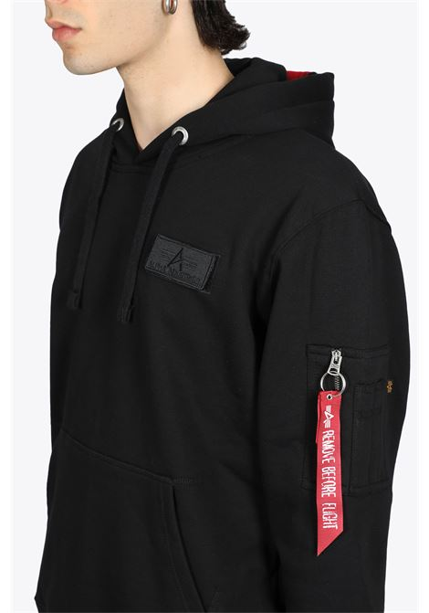 BLACK COTTON HOODY WITH RED STRIPE ALPHA INDUSTRIES | -108764232 | 178314 RED STRIPE HOODY03