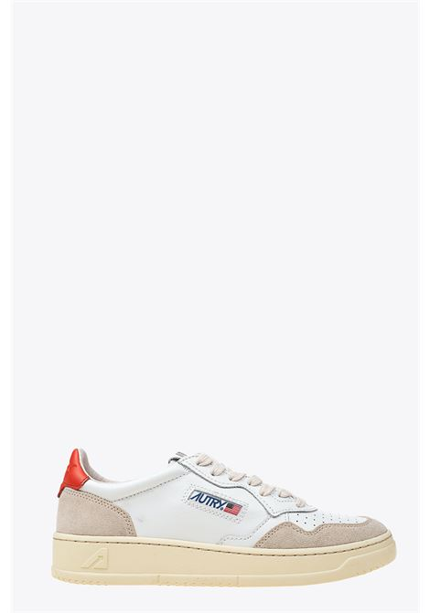 White and orange  leather low-top lace up sneakers AUTRY | 10000039 | LS45WHITE/ORANGE