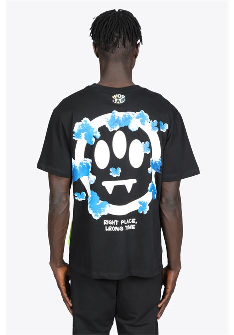 BLACK COTTON T-SHIRT WITH SMILE AND CLOUDS PRINT BARROW | 8 | 029929 JERSEY T-SHIRT110
