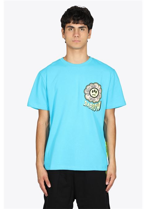 TURQUOISE COTTON TEE WITH FLOWER PRINT BARROW | 8 | 029934 JERSEY T-SHIRT051
