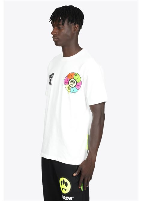 WHITE COTTON T-SHIRT WITH FLOWER AND LOGO PRINT BARROW | 8 | 029935 JERSEY T-SHIRT002