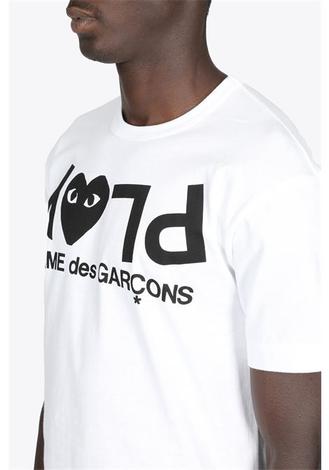 WHITE COTTON T-SHIRT WITH LOGO PRINT COMME DES GARCONS PLAY | 8 | P1T068WHITE