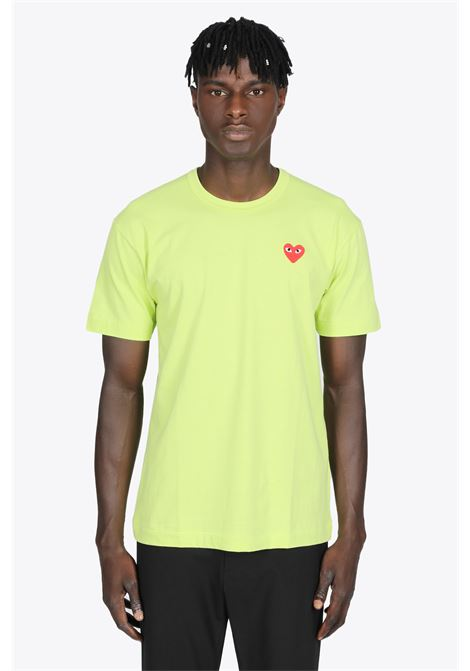 T-SHIRT VERDE IN COTONE CON PATCH CUORE GRANDE COMME DES GARCONS PLAY | 8 | P1T272GREEN