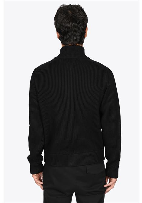 CARDIGAN IN LANA A COSTE NERO CON ZIP GRIFONI | 39 | GL110048/68003